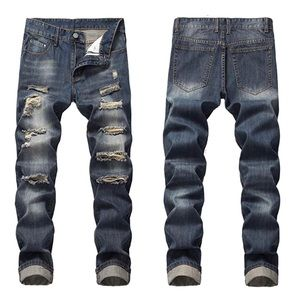 NEW Men's Distressed Ripped Slim Fit Jeans